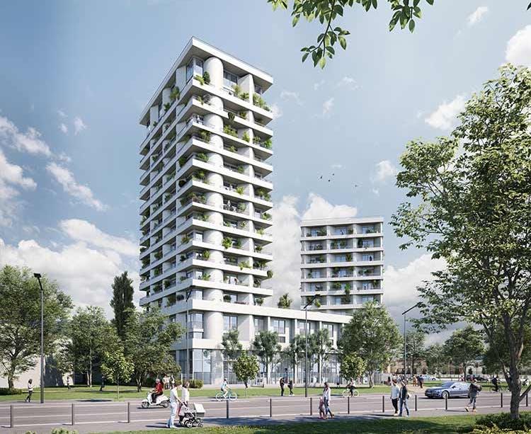 """Programme immobilier neuf à Ivry-sur-Seine """"11 Rue Galilée"""" depuis le parc de la Confluence"""