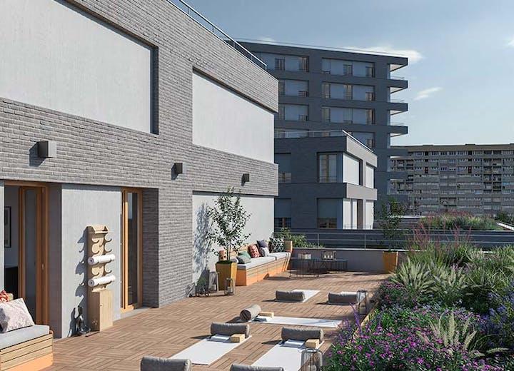 "Terrasse partagée du programme immobilier neuf à Gennevilliers ""Rue Claude Robert"""
