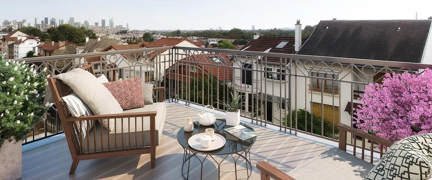 Terrasse d'un appartement du programme immobilier neuf 31 rue Fernand Forest