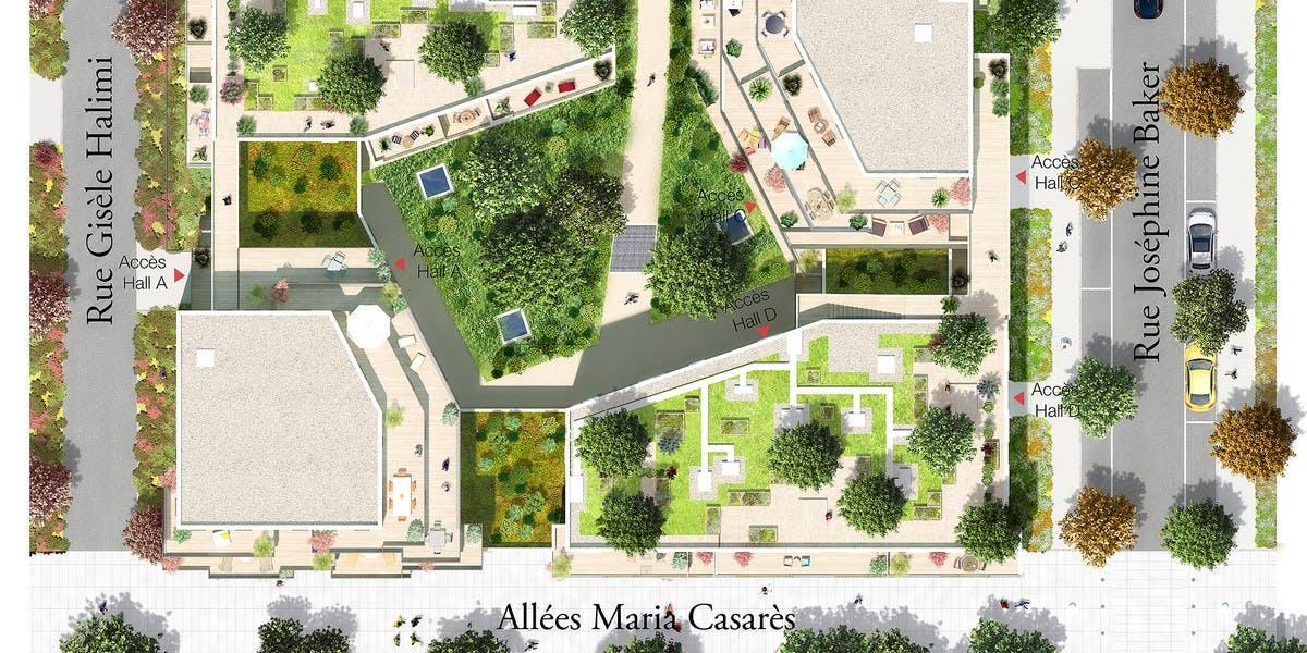 Plan masse du programme immobilier Les Allées Maria Casarès à Gennevilliers