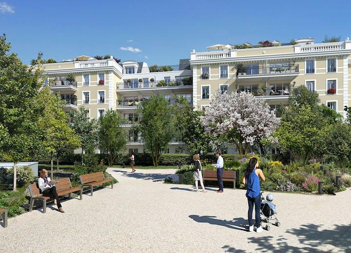 Jardin commun du programme immobilier neuf 102 avenue Aristide Briand au Blanc-Mesnil