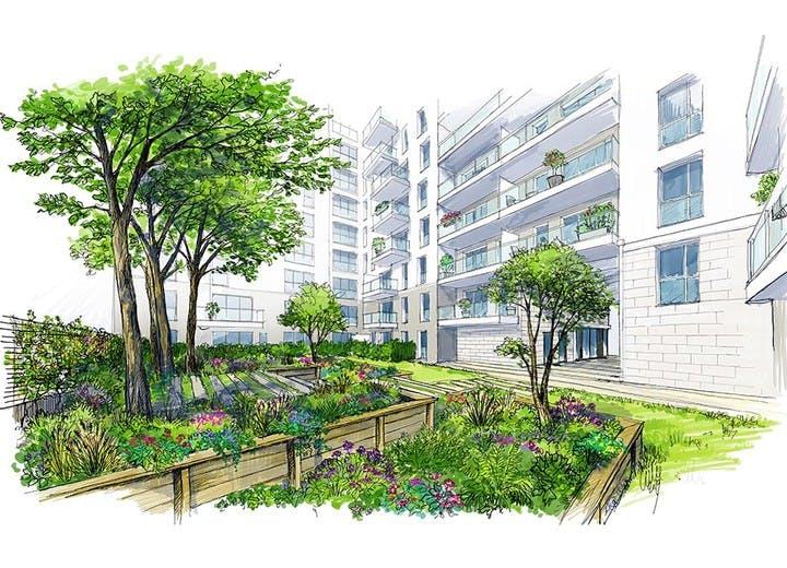 6 Rue Paul Héroult à Rueil-Malmaison : croquis du jardin en cœur d'îlot