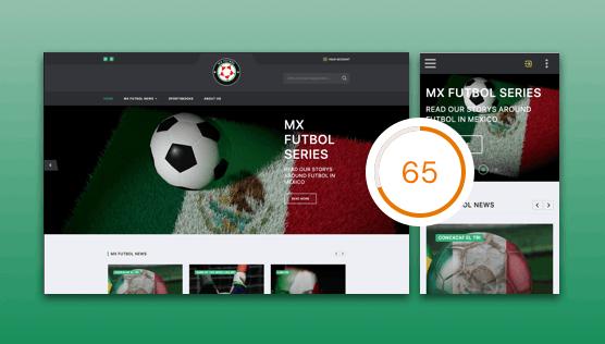 Website optimization for mxfutbol.bet - Screenshot of desktop and mobile version.