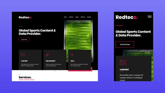 Screenshot of Redtecc website on desktop and mobile