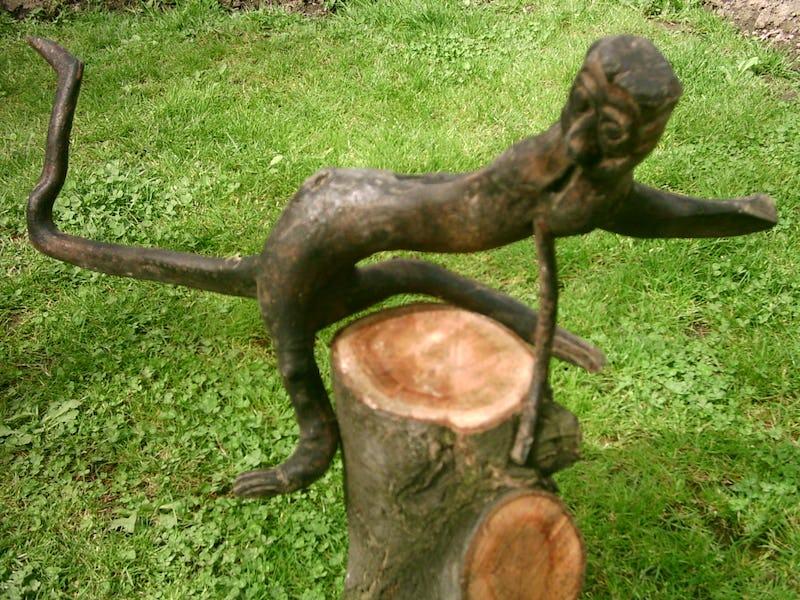 Rădăcină de copac sub forma unei maimuțe așezate pe un butuc de lemn