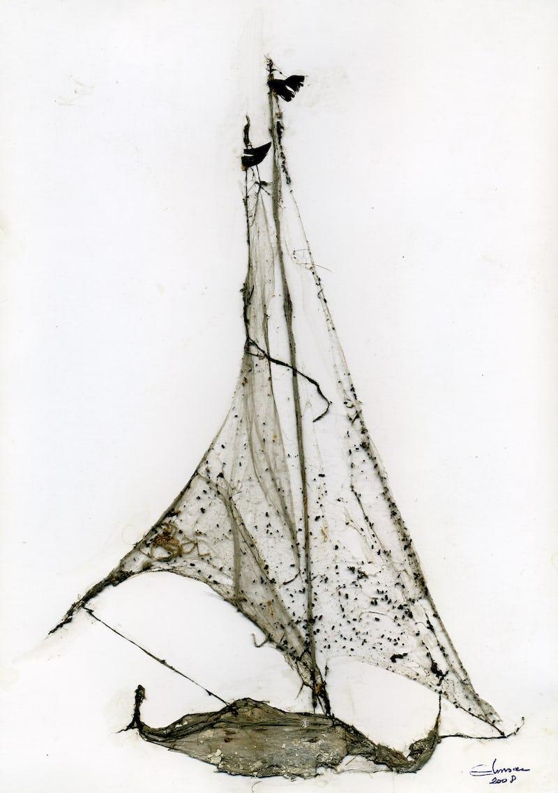 O barcă pictată din pânză de păianjen