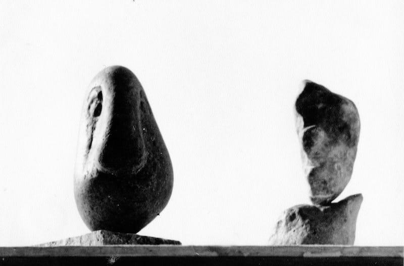 Sculptură în piatră reprezentând două animale
