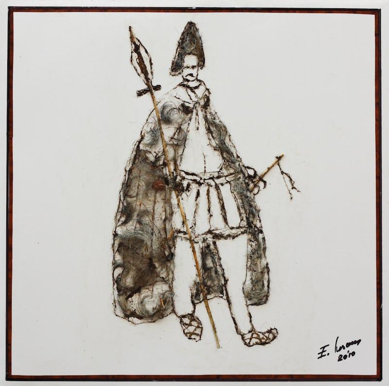 Un cioban pictat din pânză de păianjen