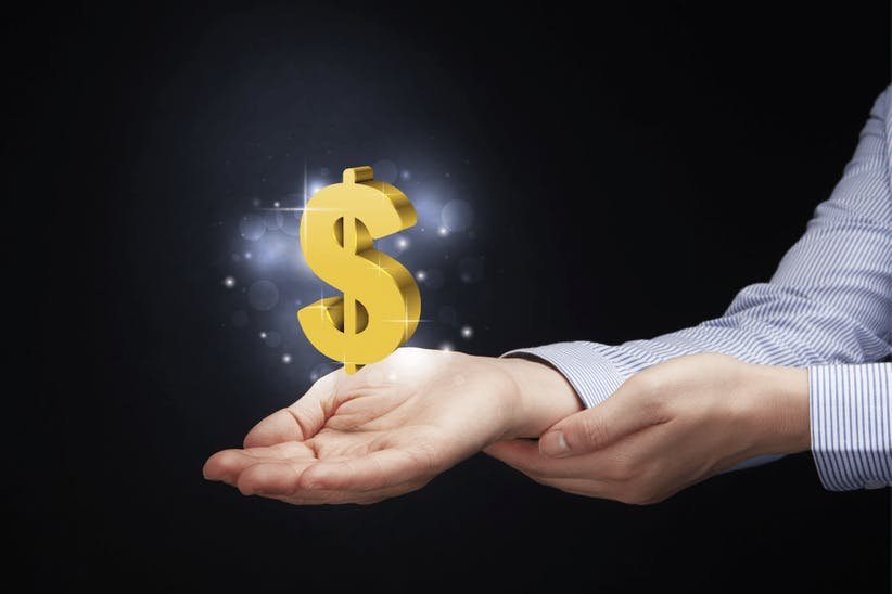 A picture of an arm holding a dollar sign