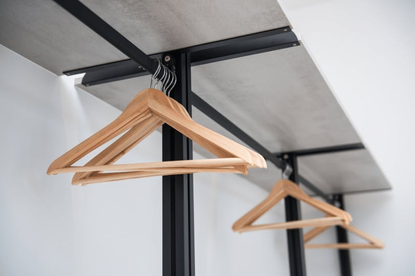 A picture of a clothing rail