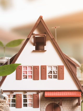 A picture of a wooden house