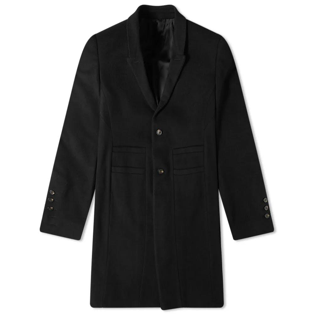 Rick Owens Single Breasted Wool Overcoat