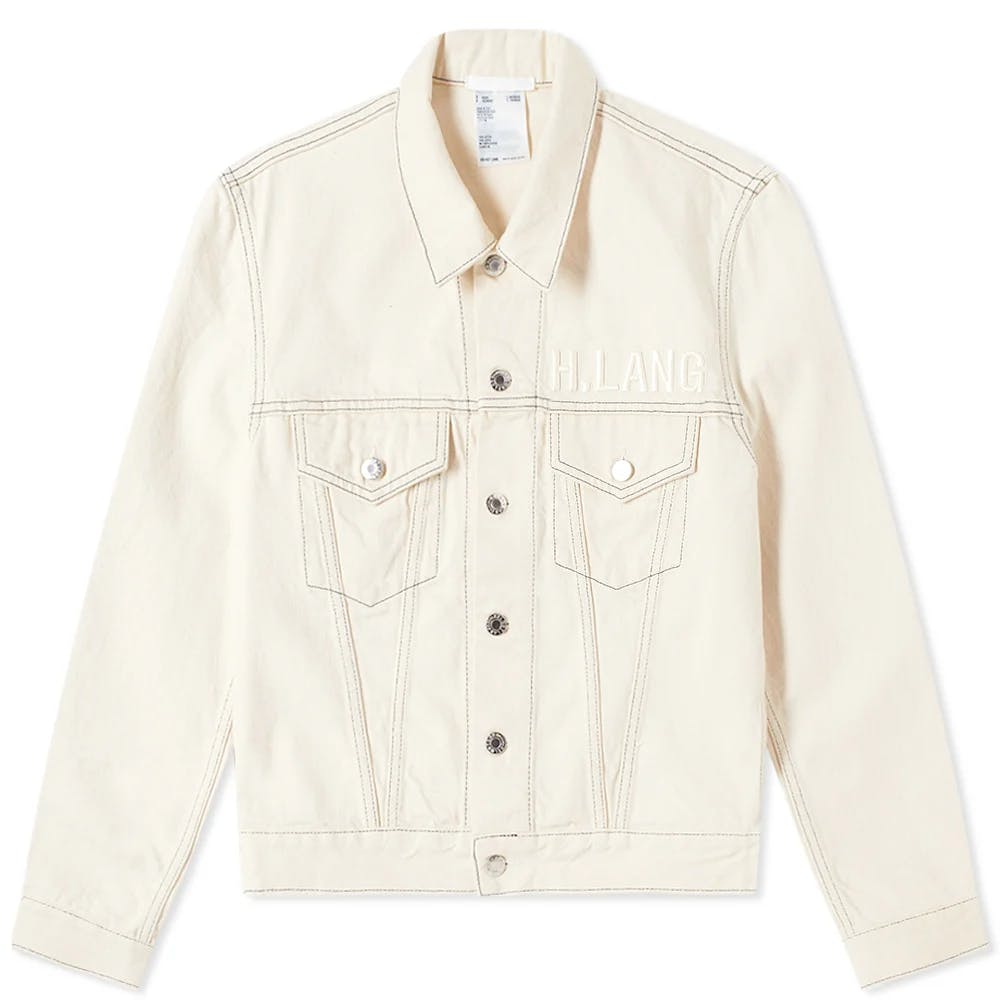Helmut Lang Masc Trucker Embroidered Logo Denim Jacket