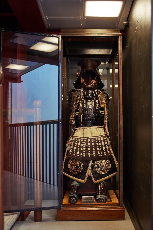 Authentic samurai armour in the Maharishi Soho store