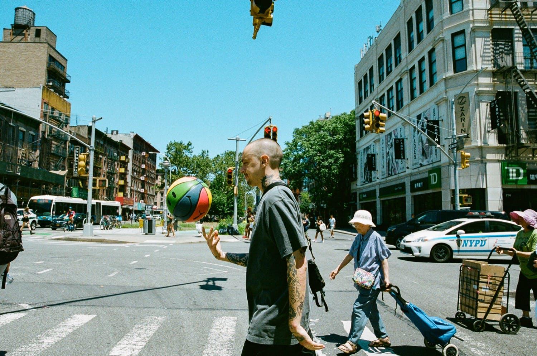 Mike Cherman playing basketball in Manhattan