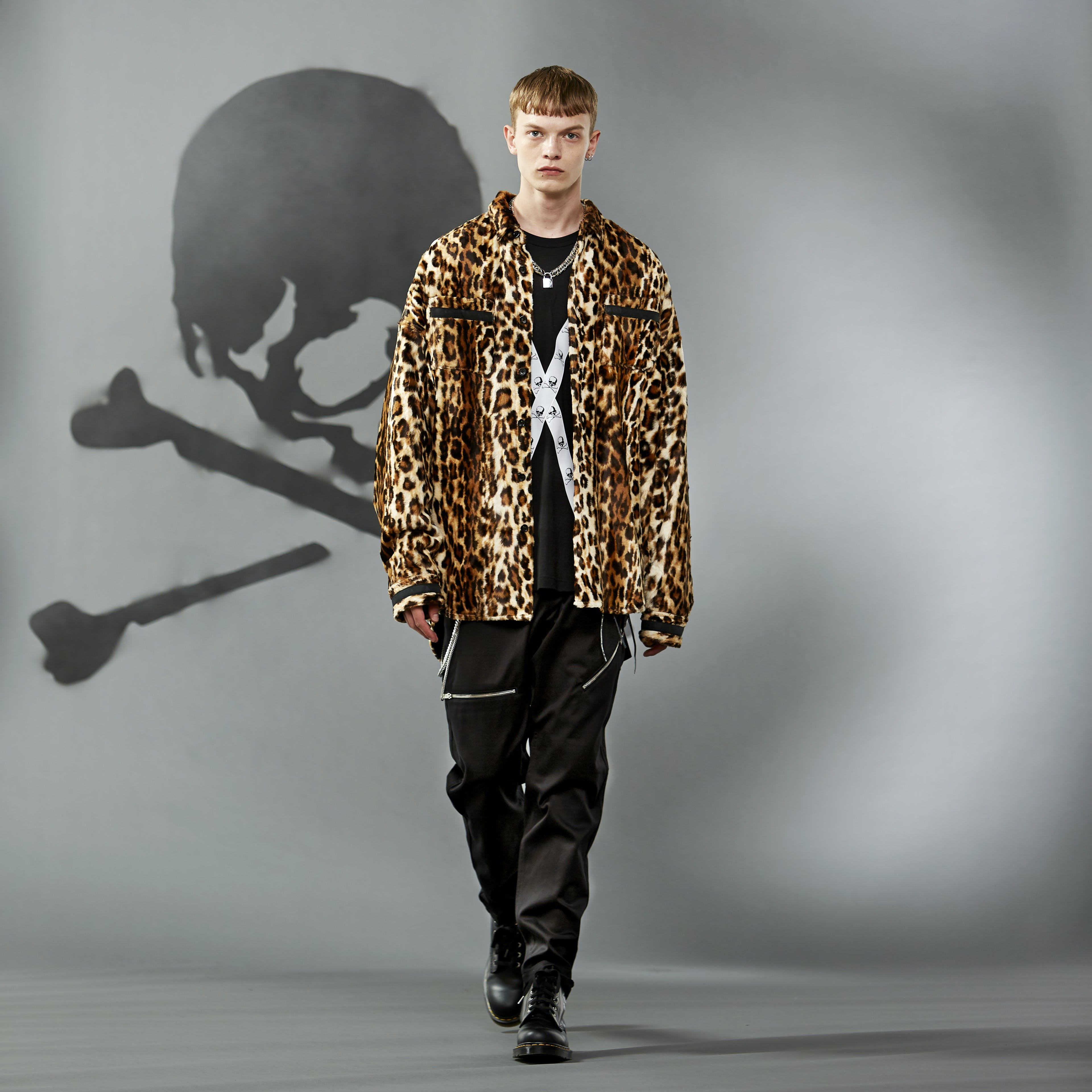 MASTERMIND WORLD FW19 look book presentation with leopard print shirt