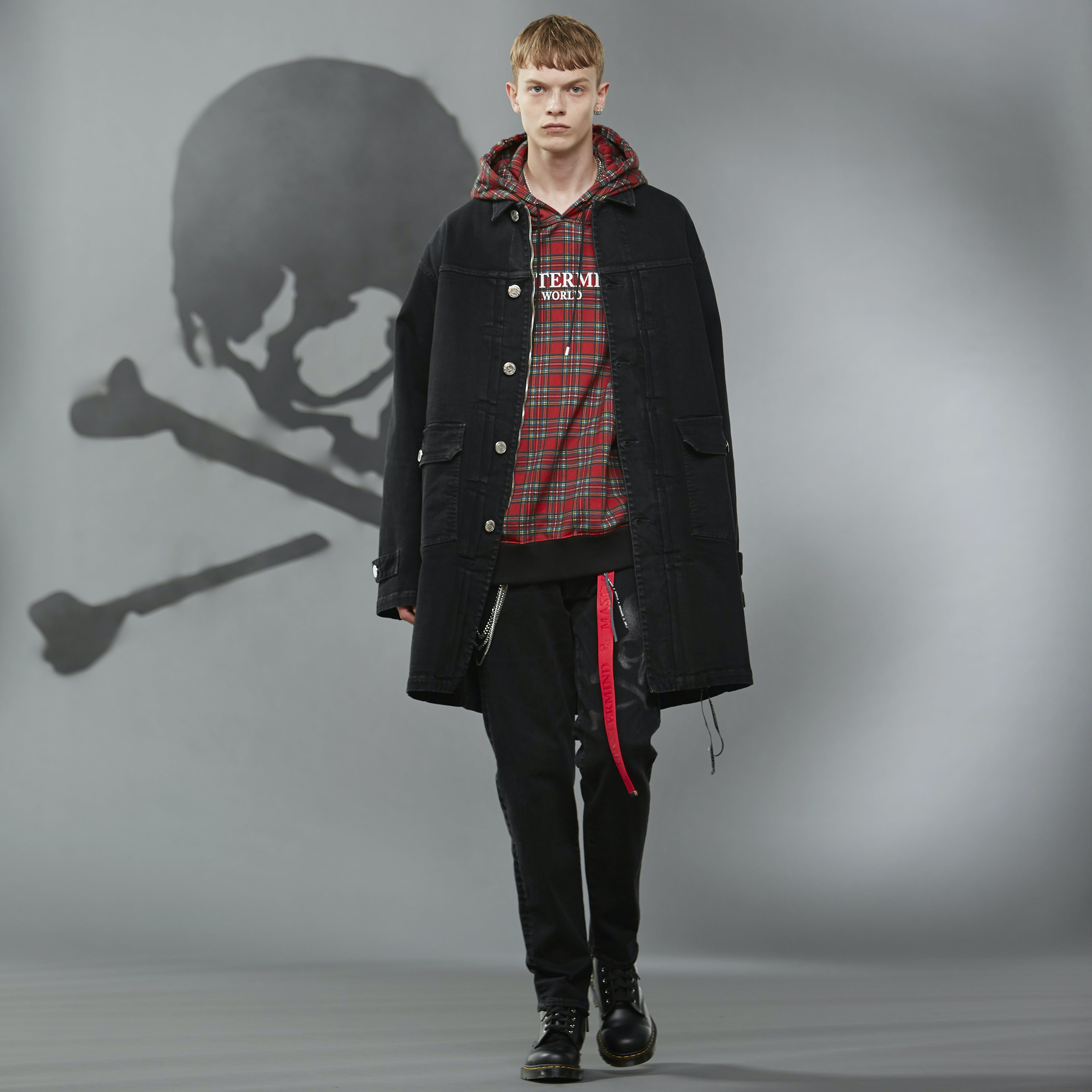 MASTERMIND WORLD FW19 look book presentation with tartan hooded sweatshirt