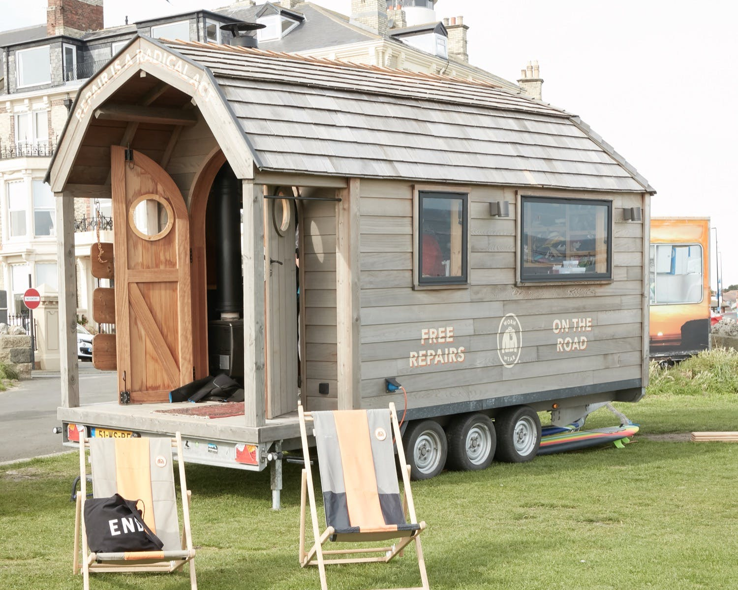 The Patagonia Worn Wear travelling trailer parked in Tynemouth summer 2019