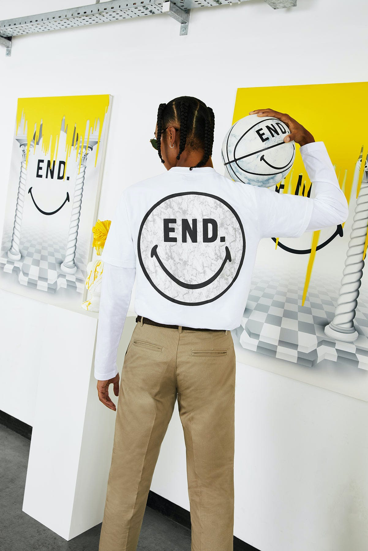 END. x Chinatown Market collaboration Smiley face tee