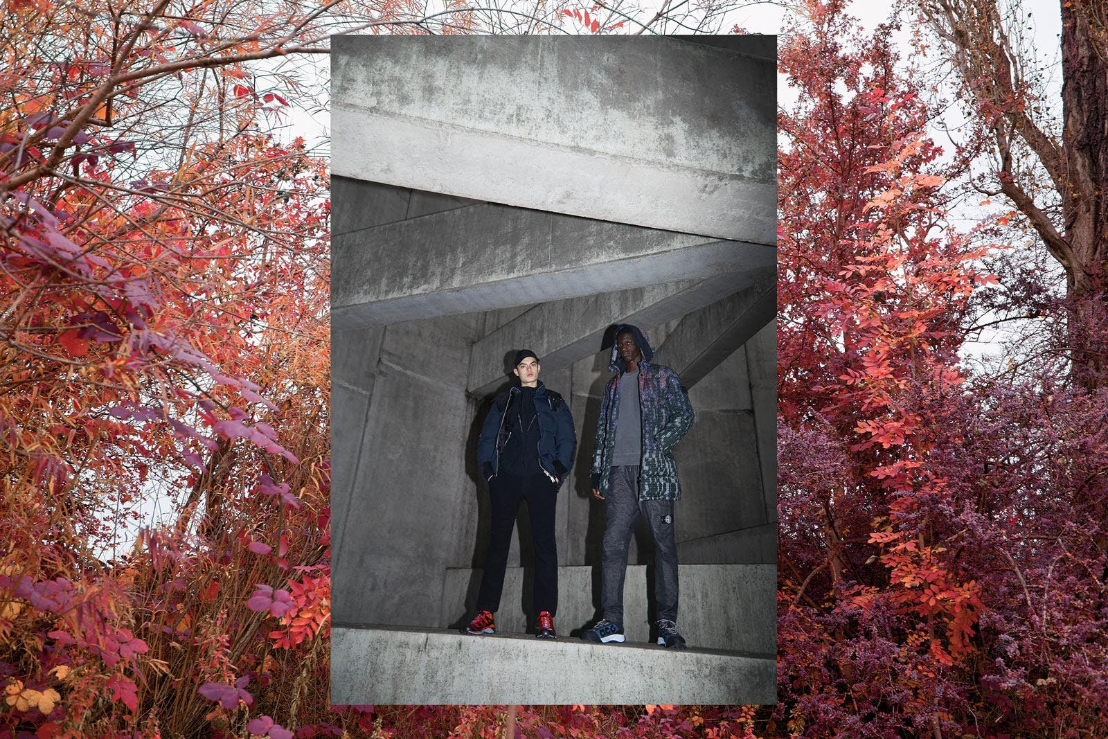 On A Trip END. AW19 Editorial .03 - Models wear Stone Island Shadow Project, Haven, Nike ACG, Savai, Gramicci, Salomon