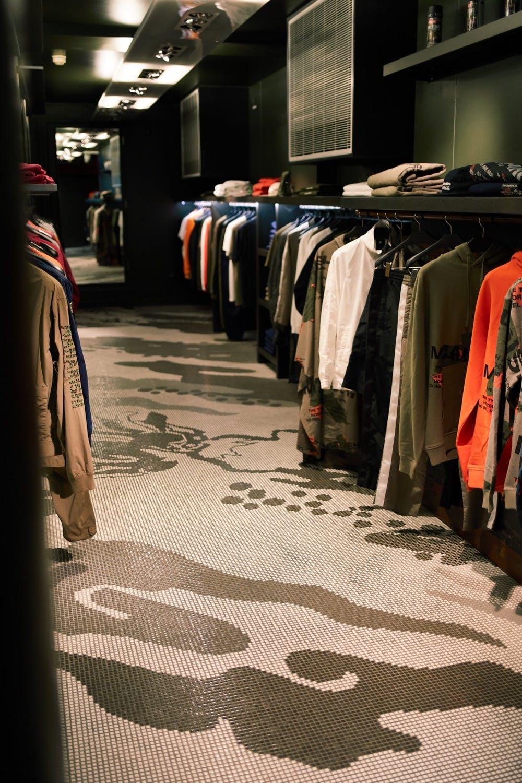 Maharishi's mosaic floor in their flagship Soho store