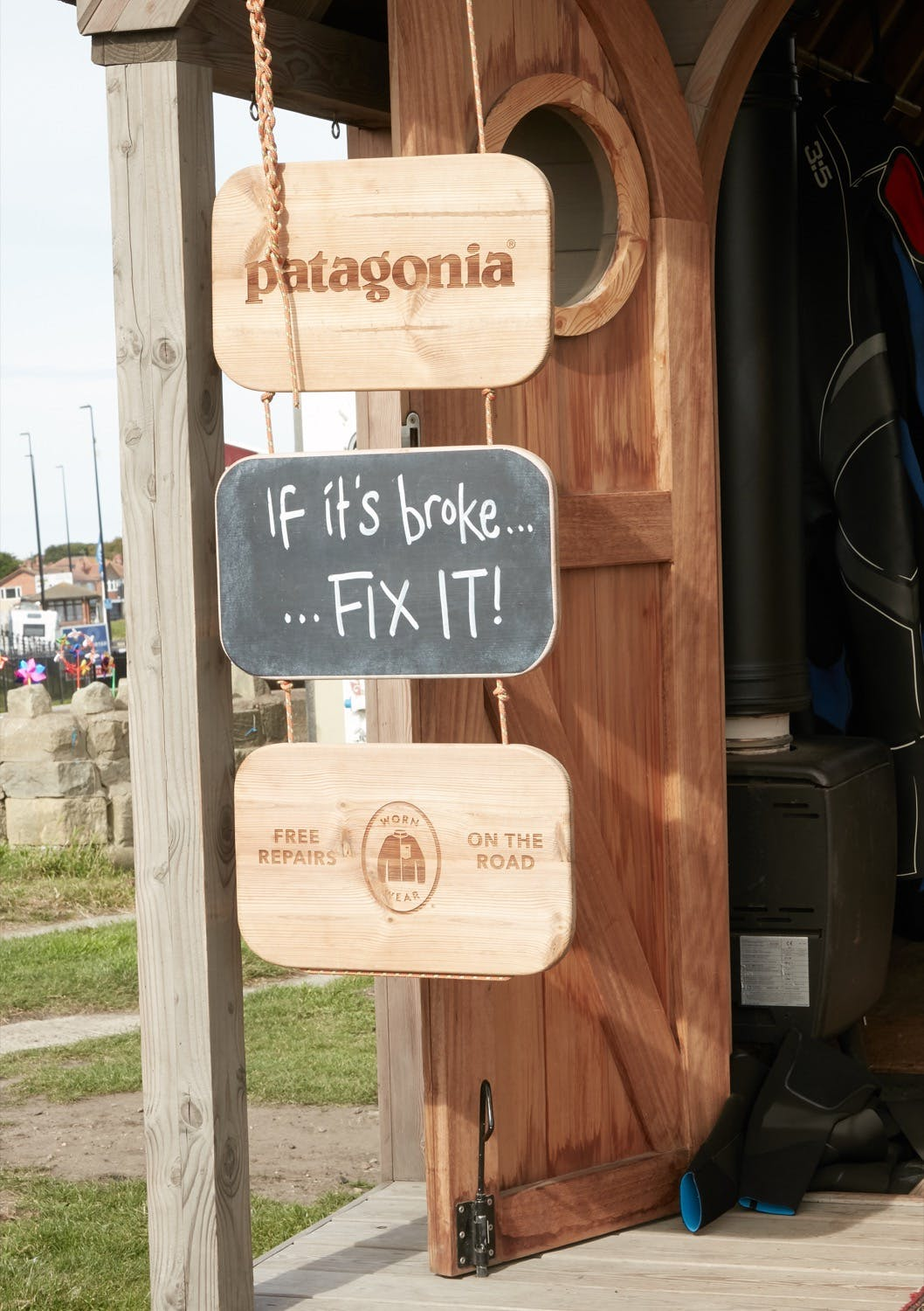 Patagonia repair and reuse mantra signage on Worn Wear Summer Tour 2019