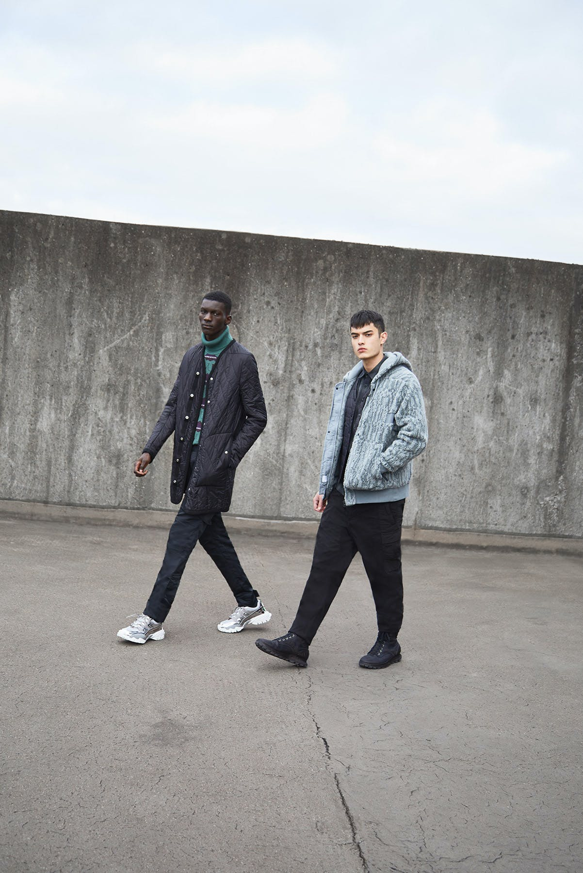On A Trip END. AW19 Editorial .03 - Models wear Stone Island Shadow Project, Valentino
