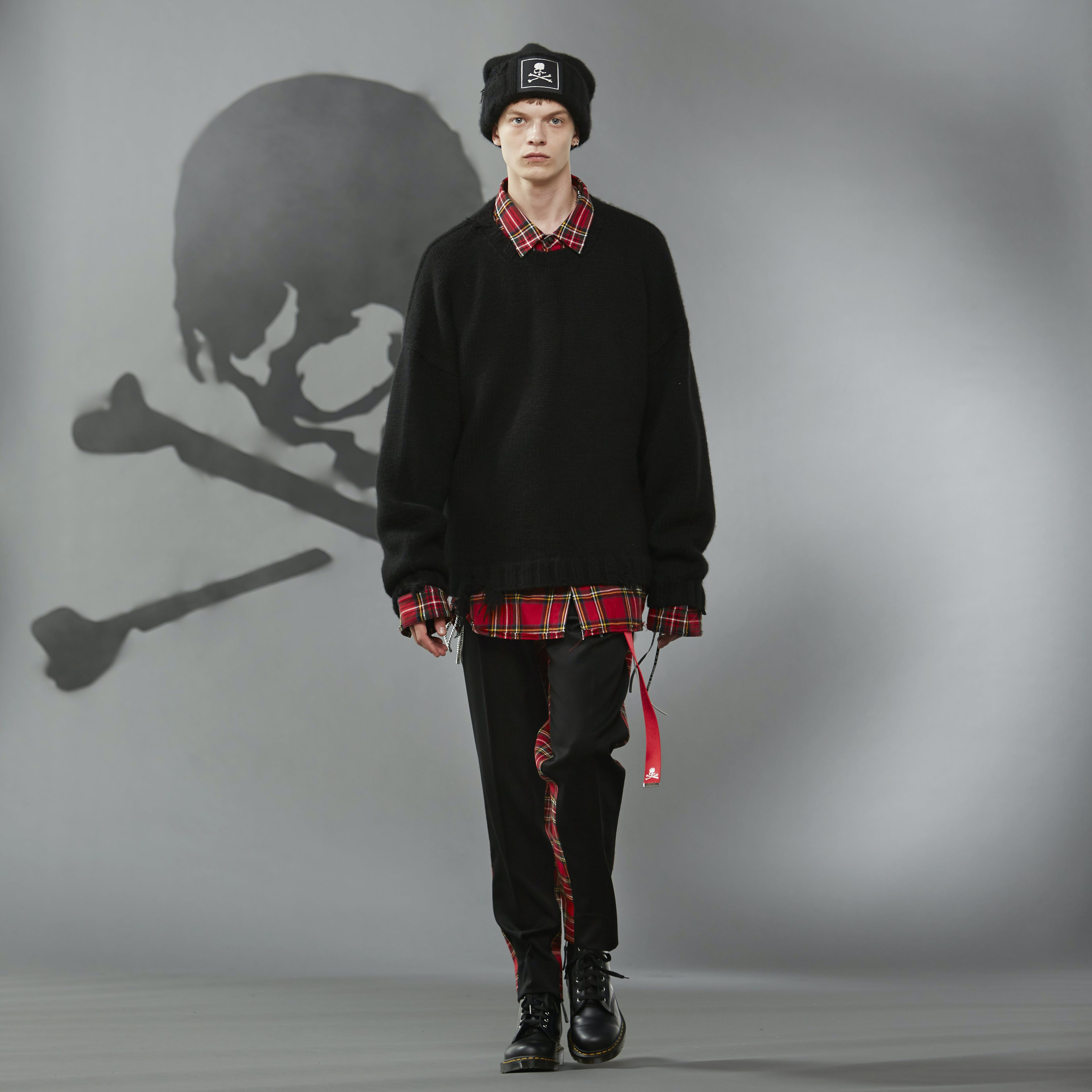 MASTERMIND WORLD FW19 look book presentation with tartan shirt