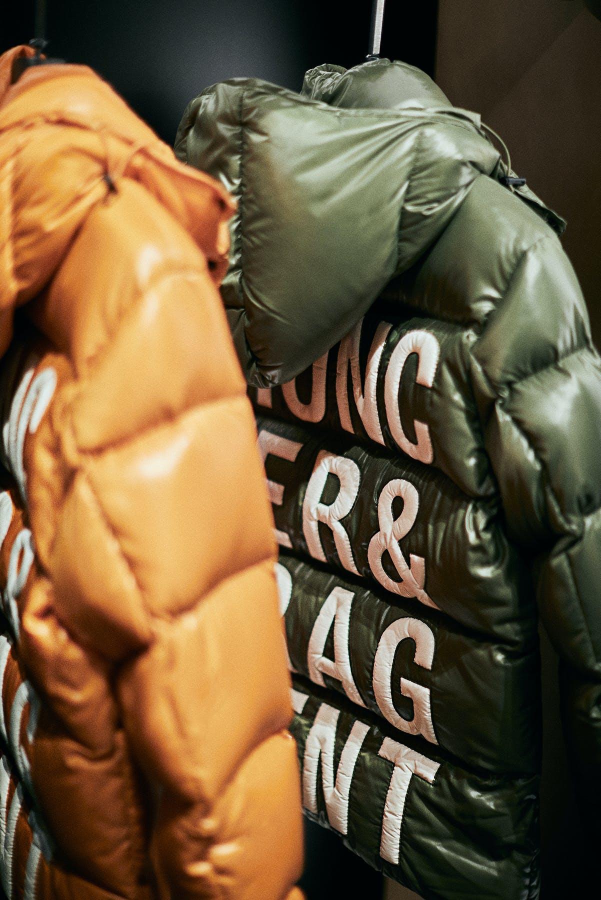 Moncler Genius 7 Fragment Hiroshi Fujiwara jackets shot in Moncler store on Bond Street