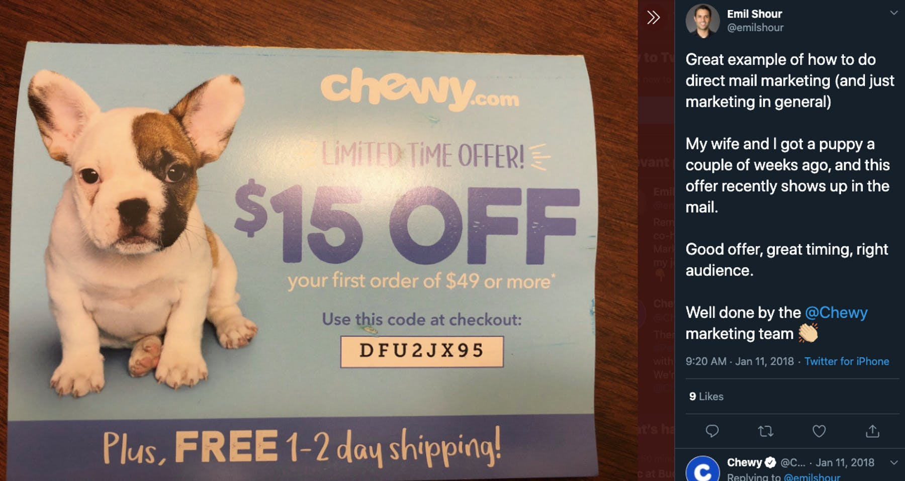 Tweet about chewy marketing