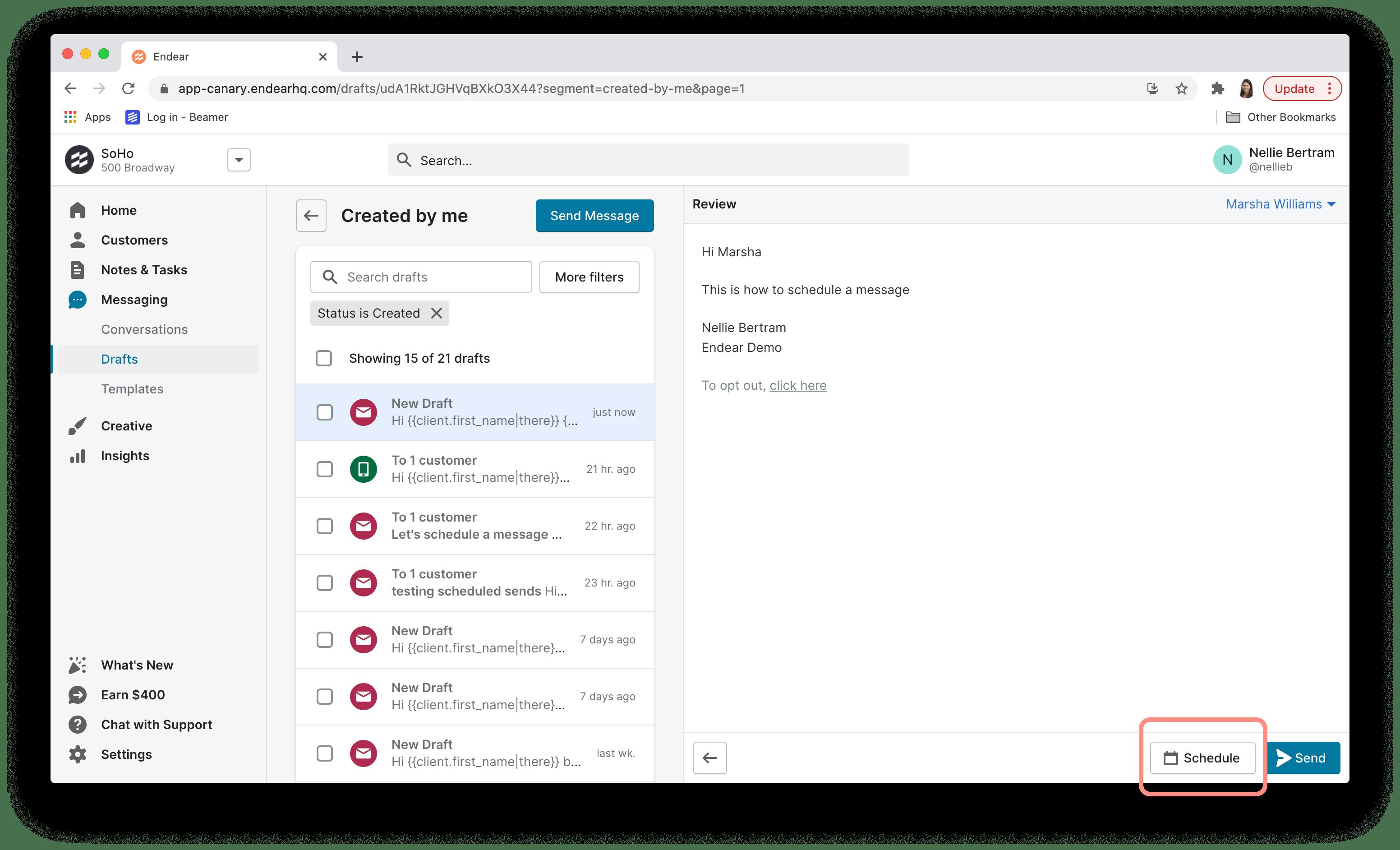 schedule message screenshot