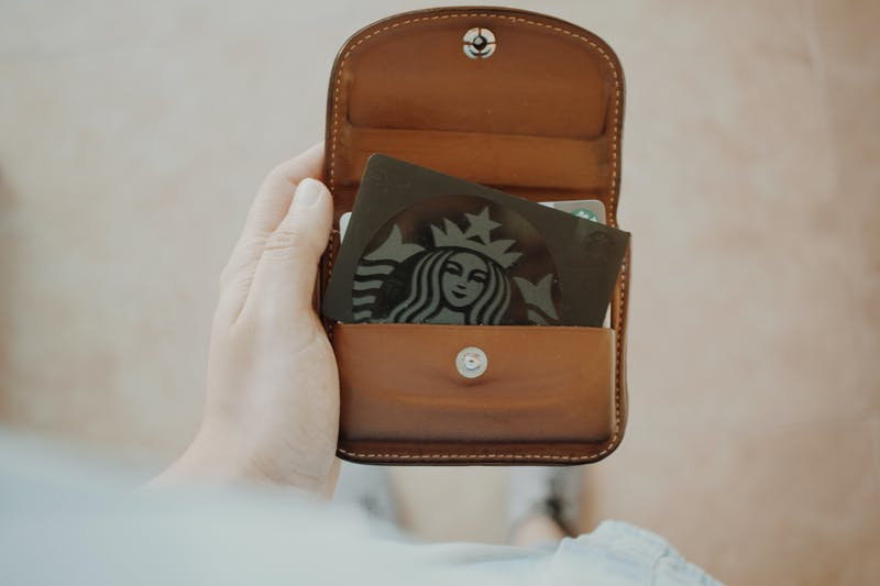 leather wallet with Starbucks card