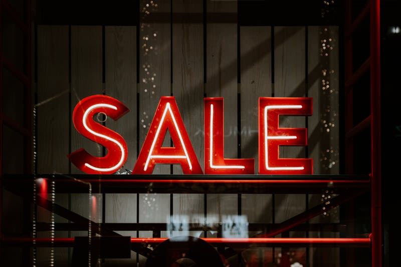 red sale signage