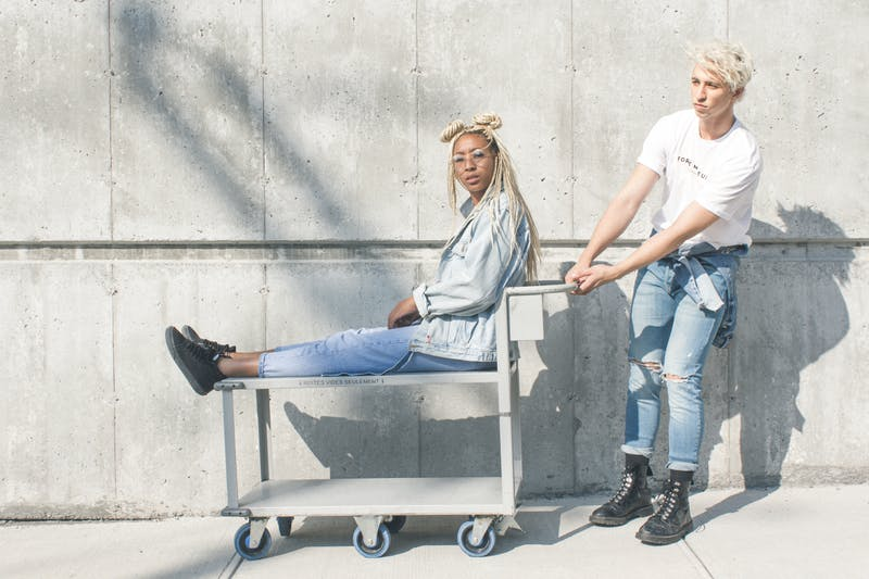 stylish models in denim outfits