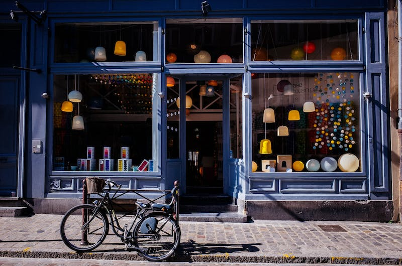 store front with bicycle