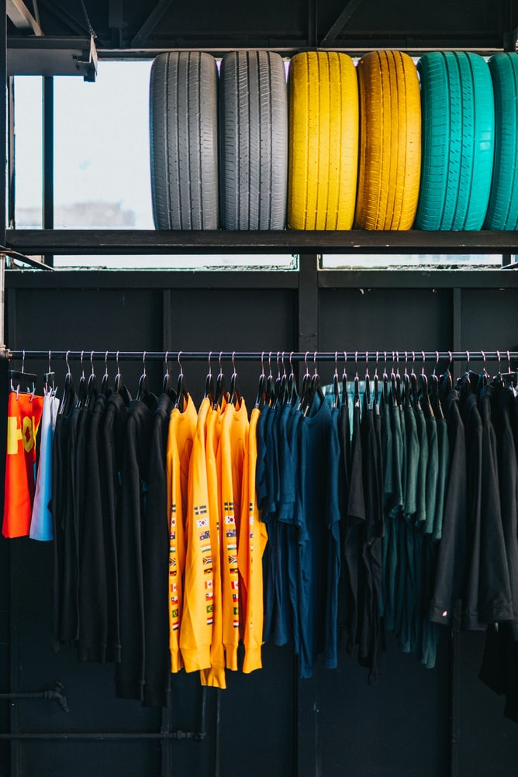 colorful rack of clothes