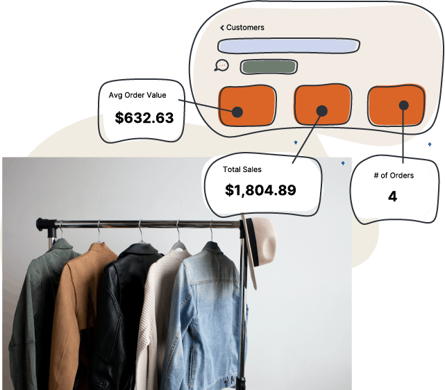 clothes on a rack with Endear customer info