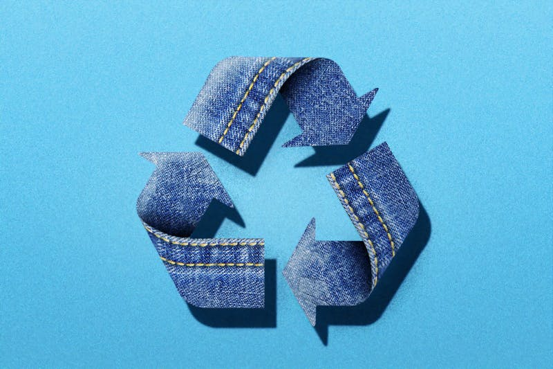 recycle sign in denim