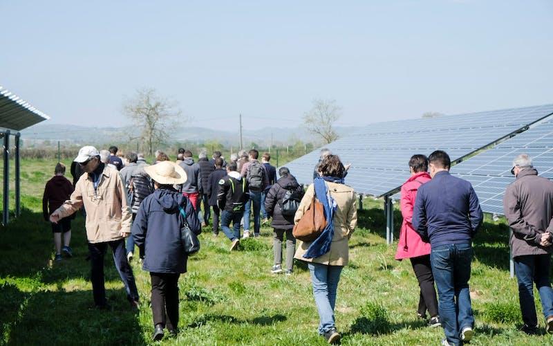 Personnes marchant dans le parc solaire d'Espalmade à Cintegabelle - Enercoop Midi-Pyrénées