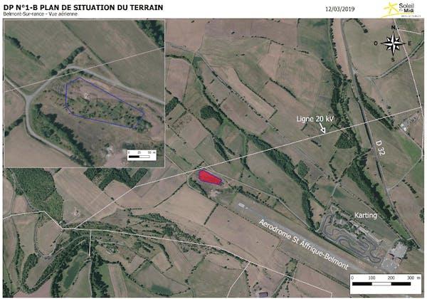 Plan de situation du parc solaire coopératif de Belmont sur Rance - Enercoop Midi-Pyrénées