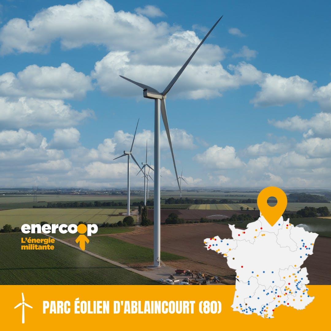 visuel parc éolien Ablaincourt dans la Somme