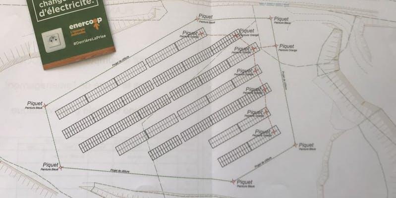 Plan d'implantation des panneaux photovoltaïques du parc de Montéchut