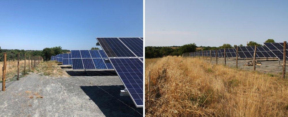 Travaux au parc solaire de Montfaucon (Lot) d'Enercoop Midi-Pyrénées
