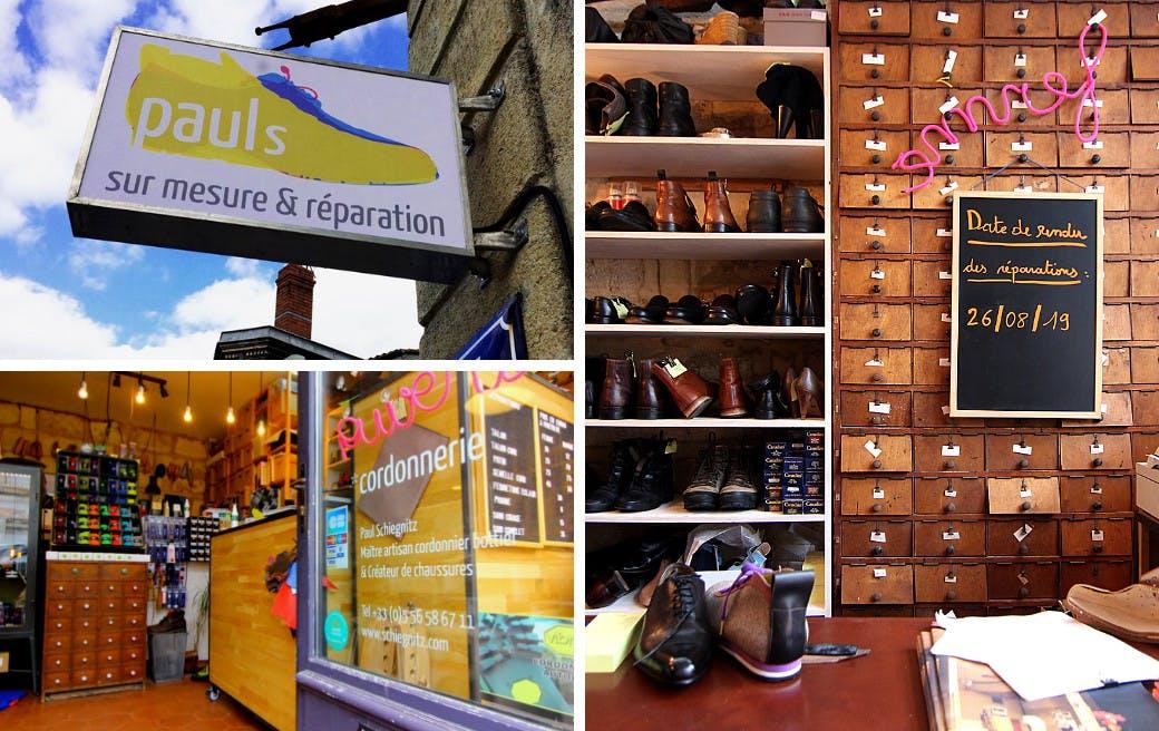 Façade et intérieur de l'atelier-boutique de Paul Schiegnitz - Enercoop Nouvelle-Aquitaine