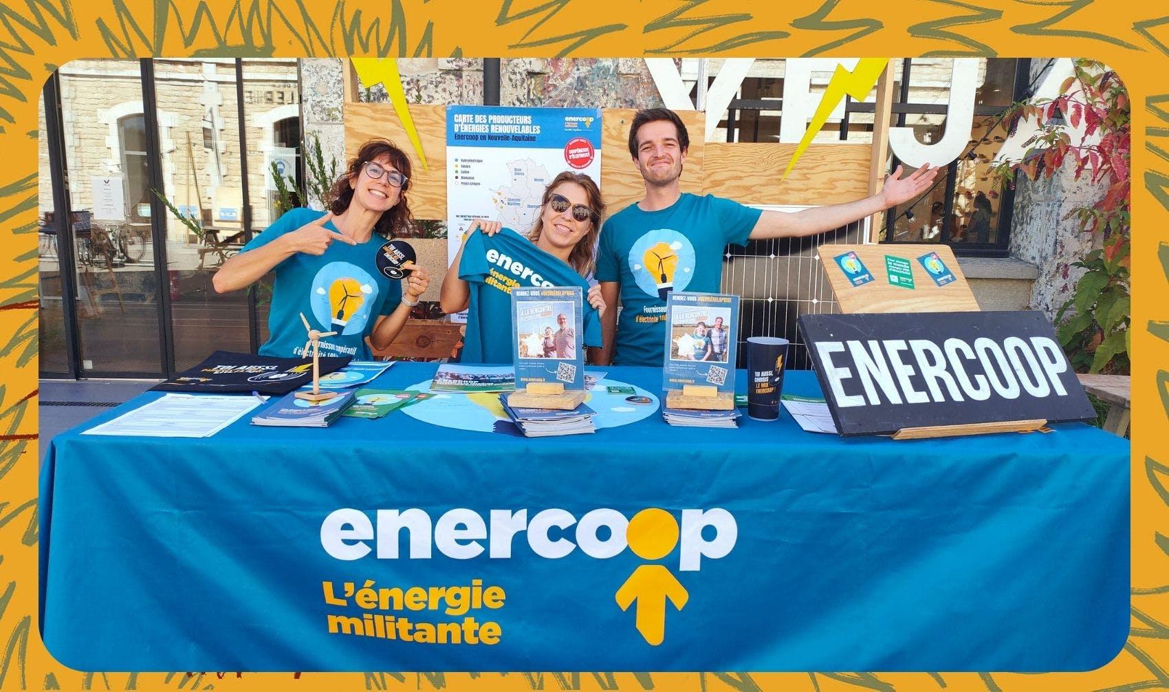 Claire, Mathilde et Mikel sur le stand d'Enercoop à l'édition 2021 du Festival Climax - Enercoop Nouvelle-Aquitaine