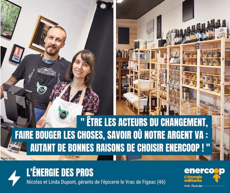 Citation de Nicolas et Linda Dupont, gérants du Vrac de Figeac