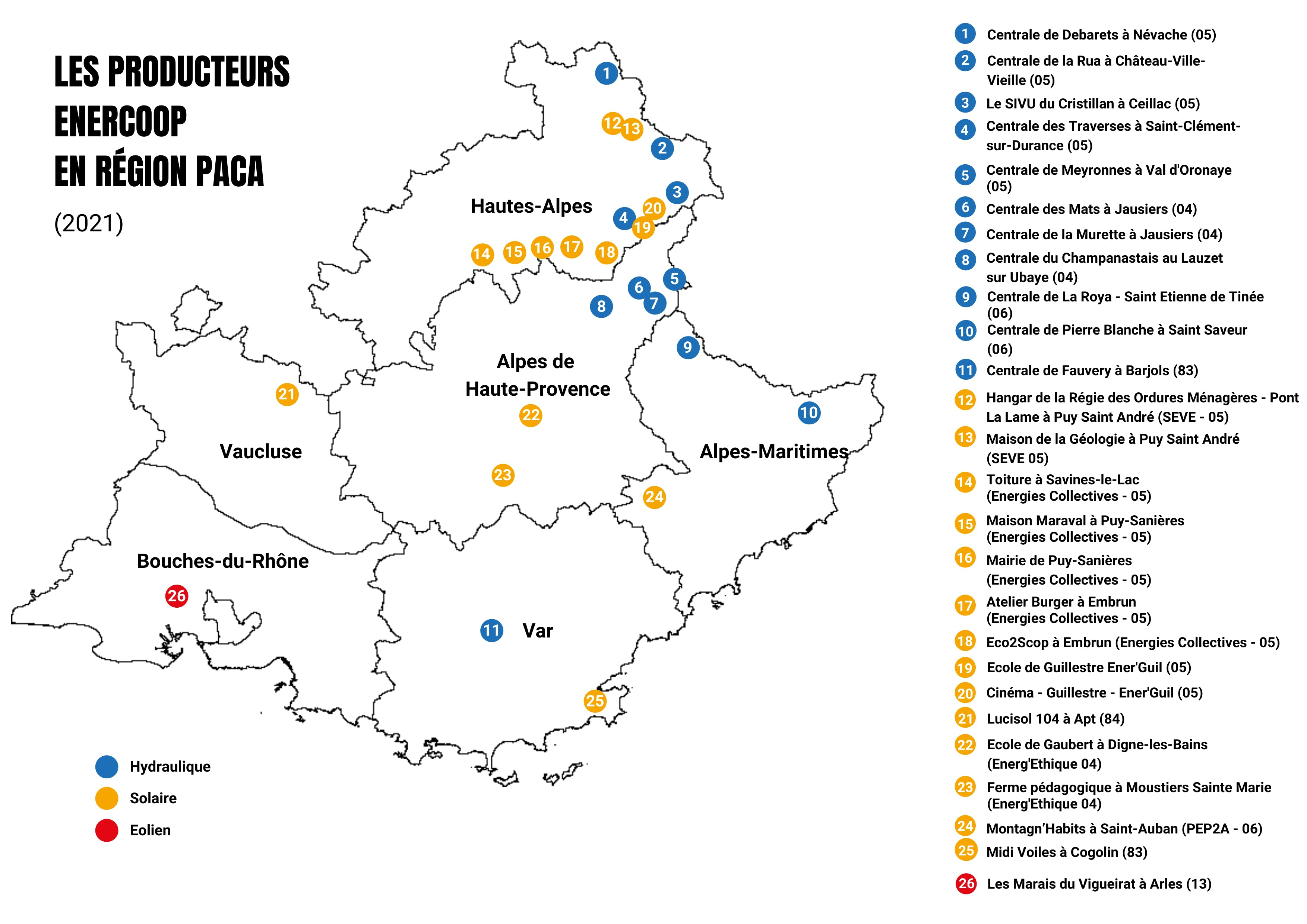 Enercoop Paca - Carte des producteurs 2021