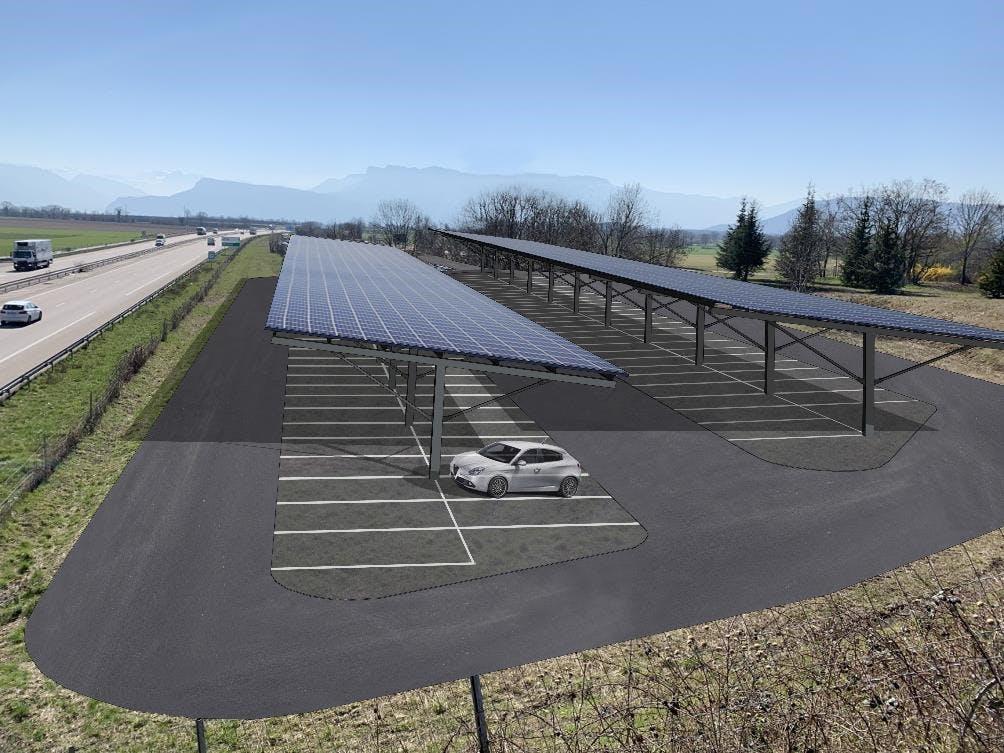 Image du projet d'ombrières de parking relais