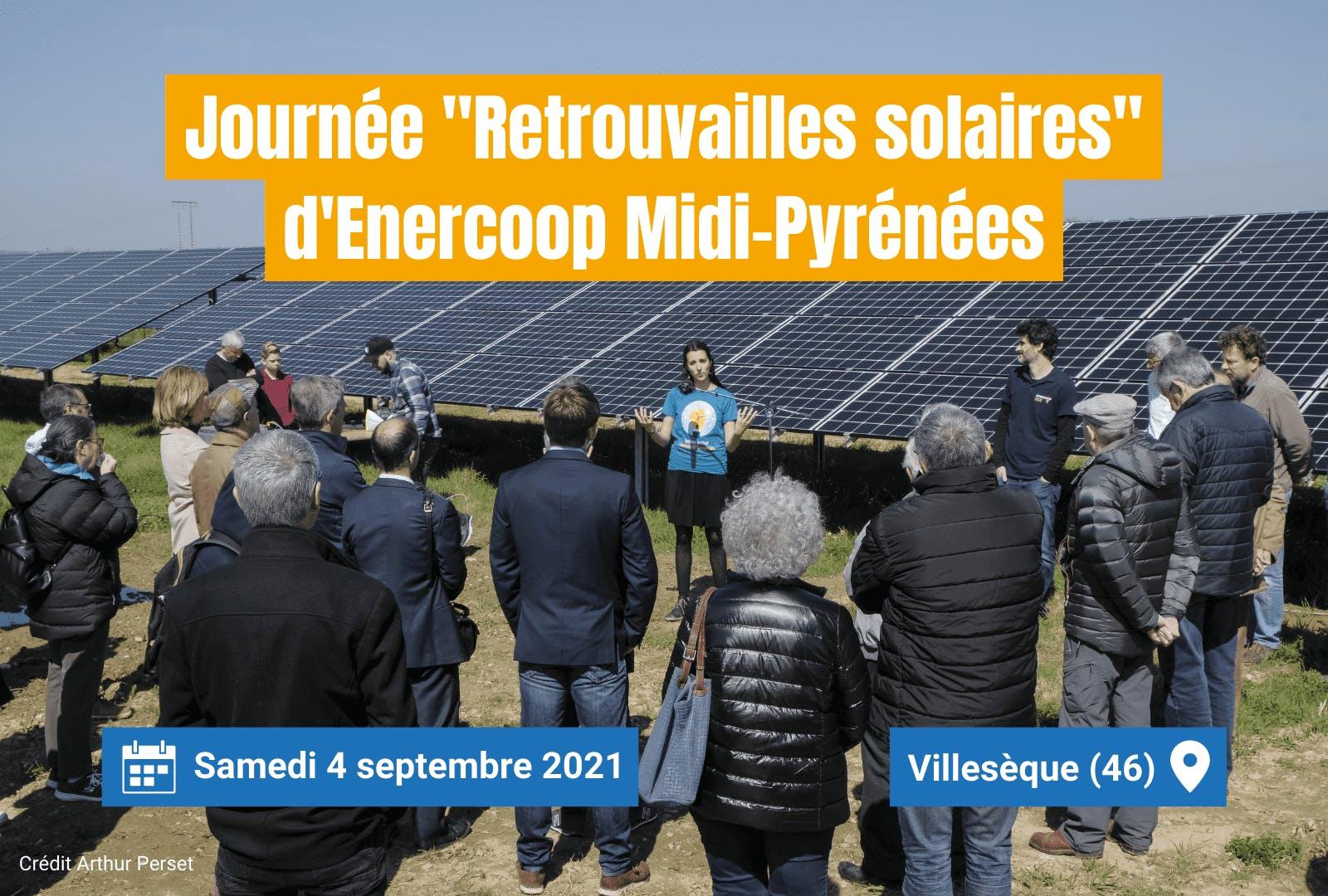 """Visuel d'annonce de la journée """"Retrouvailles solaires"""" organisée par Enercoop Midi-Pyrénées le 4 septembre 2021"""