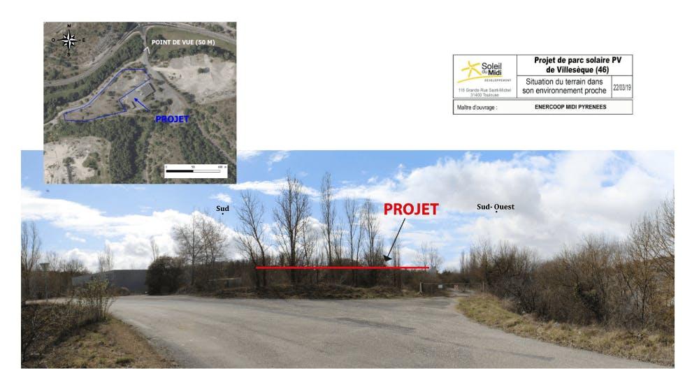 plan du projet de parc solaire à Villesèque - Enercoop Midi-Pyrénées